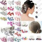 10/20Pcs Chic Crystal Diamante Rhinestone Wedding Bridal Flower Hair Clip pin