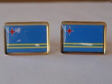 Aruba Flag Cufflinks--Aruban Island Caribbean Dutch Netherlands