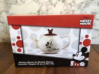 Disney Mickey Mouse Minnie Mouse Ceramic Teapot Vandor Classic Mickey Ears New