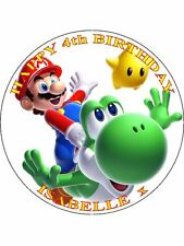 "SUPER MARIO - DESIGN 2 PERSONALIZED 7.5"" CIRCLE ICING CAKE TOPPER"