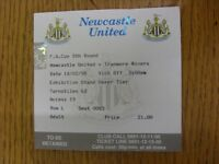 14/02/1998 Ticket: Newcastle United v Tranmere Rovers [FA Cup] (folded). Footy P