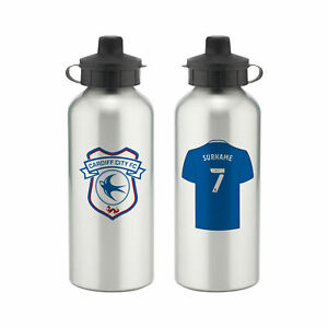 PERSONALISED Cardiff City FC Gifts - Aluminium Water Bottle - Official
