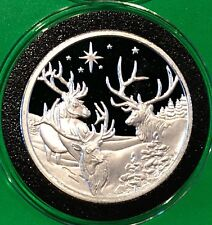Seasons Greetings Reindeer Snowy Holiday  Coin 1 Troy Oz .999 Fine Silver Round