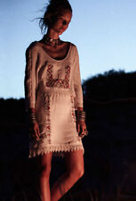 Free People Twice As Nice Embroidered Ivory Folk Boho Dress Sz L $198 Rare