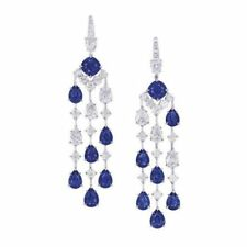 3.00Ct Blue Pear Shaped Stone Dangle Type Women Earrings In 925 Sterling Silver
