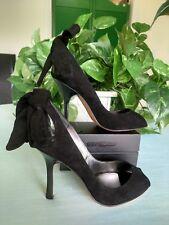 Bebe 7M Leather Sole Black Suede Stilettos w/Bows @ Heels
