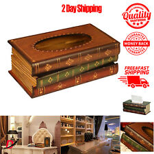 Wooden Antique Book Design Vintage Hinged Refillable Tissue Box Holder Cover New
