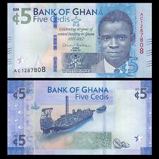 Ghana 5 Cedi, 2017, P-NEW, NEW Design, 60th COMM. UNC