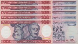 LOT, Brazil 100 Cruzieros (ND/1984) p198b x 5 PCS UNC