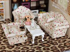 1:12 Dollhouse Miniature Three-piece sofa pink red flower Puppenhaus