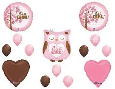 It's a GIRL OWL Pink Brown BABY Shower Party (14) Decoration Mylar & Latex SET