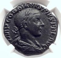 GORDIAN III Authentic Ancient 241AD Sestertius Roman Coin LAETITIA NGC i73338