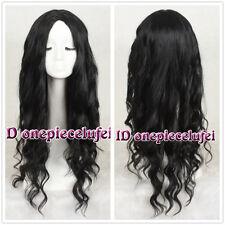75cm Harajuku Long Curly BLACK Fashion Wig No Bangs + free wig cap