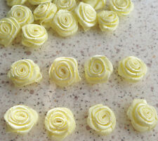 100 Small Satin Ribbon Rose Flower 12mm Sewing Trim Wedding Bow Craft Yellow