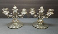 Vintage Antique Art Deco Depression Glass Smoke Grey Cut Glass Candle Holders