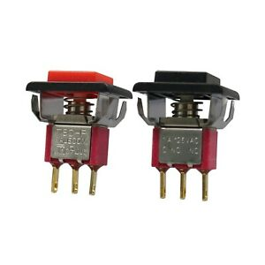 2Pcs T80-P Red/Black 3Pin Momentary Square Mini Push Button Switch SPDT