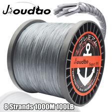 8 strands 1000M Braided Fishing Line 100LB Gray Super Strong PE Braid Line
