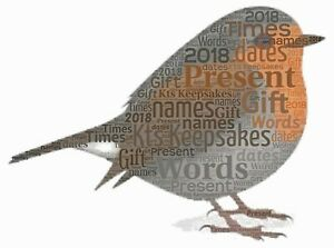 word art picture personalised gift present keepsake Christmas Robin