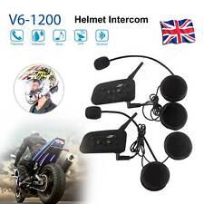 6 Riders 2PCS Motorcycle Helmet Intercom Bluetooth Interphone 1200m Speakers BT