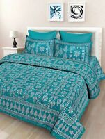 Indian Floral Cotton Printed Double Bed Sheet And 2 Pillow Covers, Sea Green