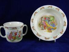 Vintage Royal Doulton Bunnykins 2 Piece China Baby Set Plate and 2 Handled Mug