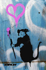"Banksy - Love Rat Graffiti Photo Art Print 24""x36"""