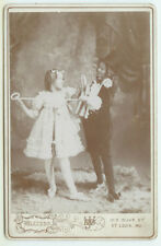 AMERICANA THEATRICAL VAUDEVILLE: Patriotic Theatrical Cabinet Card of Two Girls
