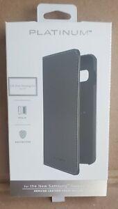 Platinum Genuine Leather Folio Wallet Case for Samsung Galaxy S10 - Black