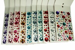 Assorted Sizes ROUND Gemstone 106 Pcs Self Adhesive Acrylic Rhinestones Stickers