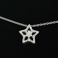 "NEW 14K White Gold 16"" 0.64ctw Round Baguette Diamond Open Star Pendant Necklace"