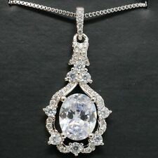 Hand Carved Oval Moissanite Necklace Women Wedding Anniversary Jewelry Gift
