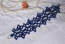 Handmade Bracelet Tatted Lace Frivolite made with Swarovski elements,Tatting