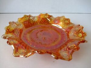 "Vintage Marigold Carnival Glass Sawtoothed Ruffled Edge Plate Bowl Orange Old""F3"