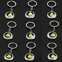 Mom Dad Sister Son Heart Pendant Silver Key Chain Ring Keychain for Family Gift
