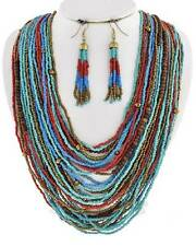 Multi Layers Turquoise And Multi Color Glass Seed Bead Necklace Earring