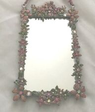 """Multicolor Floral Rhinestones 4X6 3/4"""" Picture Frame Holds 3.5X5"""" Mirror"""