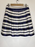 Review Striped Pleated Short Prom Style Skirt Navy & White Size 12 EUC