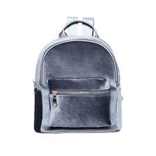 Women Velvet Mini Backpack Girl School Bags Retro Solid Travel Shoulder Bag Pack