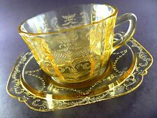 Vintage Depression Yellow Glass Tea Coffee Cup & Saucer (6 sets available) (C16)