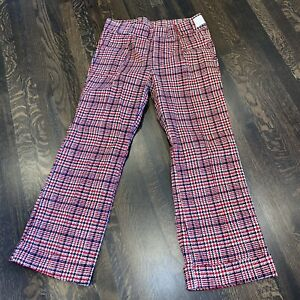 NOS Vtg 60s 70s Plaid CORDUROY Bell Bottom Pants cotton Disco Mod NEW Mens 35 29