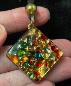 VETRO MURANO multi color glass signed necklace