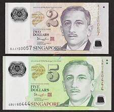 SINGAPORE SET 2 PCS 2 5 Dollars, 2014 2017, P-46g 47d, POLYMER, UNC