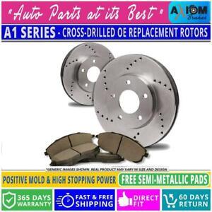 [Rear Kit]Premium Cross Drilled 2 Disc Brake Rotors + 4 Semi-Metallic Brake Pads