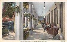Lake Charles Louisiana Hotel Majestic~Rocking Chairs On Porch Postcard 1920s