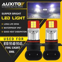 2X AUXITO H10 9145 9140 LED Fog Light DRL Bulb Super Bright 2400LM 2835 SMD EA