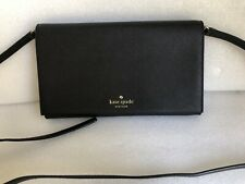 Kate Spade Cali Cedar Street Black Crosshatched Leather Clutch Crossbody Bag
