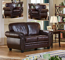 Brown Leather 3 Seater 2 Seater Armchair Footstool Sofa Suite Highbury 32 2 Seater 2 Chairs