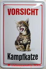Blechschild 20x30 cm - Vorsicht Kampfkatze / Katze Stubentiger