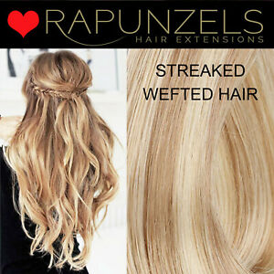 Rapunzels UK Blonde streaked weft hair extensions RAPUNZELS SALON remy hair