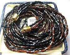Pretty VINTAGE 1950's Copper & Black GLASS BEAD 6 Row Jewellery Long NECKLACE